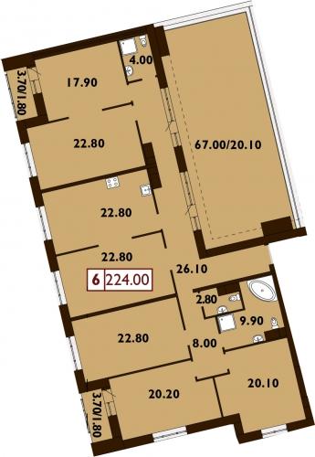 6-комнатная квартира на продажу (225,3 м<sup>2</sup>)