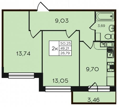 2-комнатная квартира на продажу (50,3 м<sup>2</sup>)