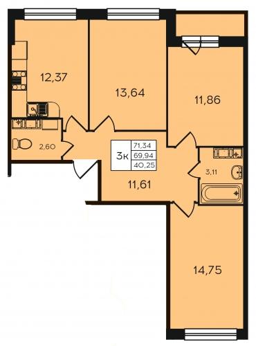 3-комнатная квартира на продажу (71,3 м<sup>2</sup>)