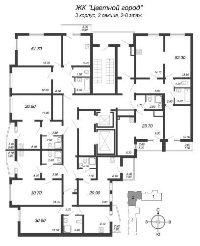 1-комнатная квартира на продажу (26,8 м<sup>2</sup>)