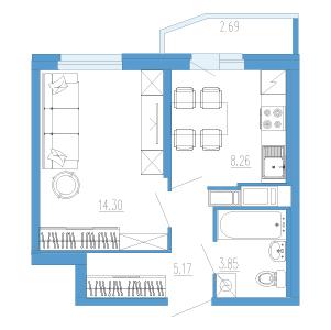 1-комнатная квартира на продажу (32,0 м<sup>2</sup>)