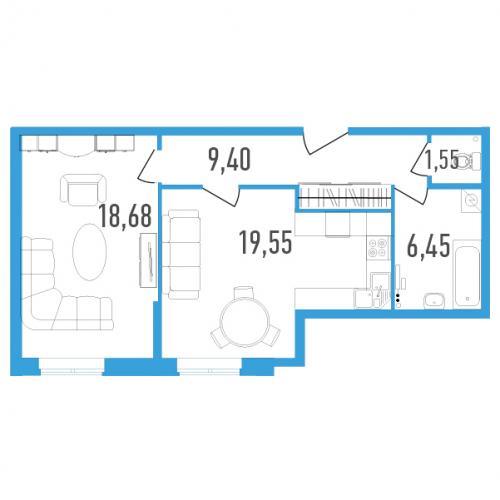 1-комнатная квартира на продажу (55,0 м<sup>2</sup>)