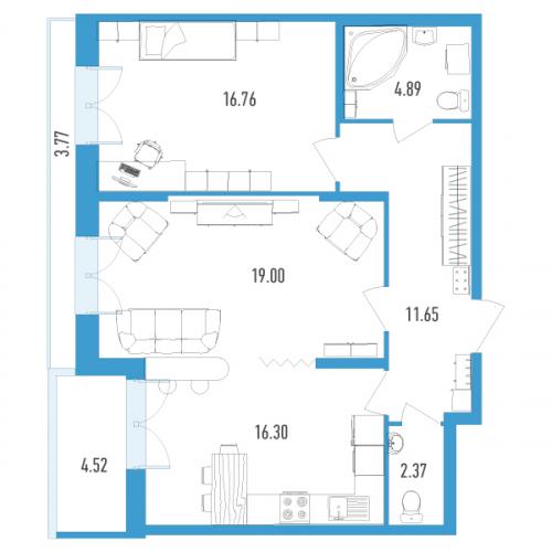 2-комнатная квартира на продажу (74,0 м<sup>2</sup>)