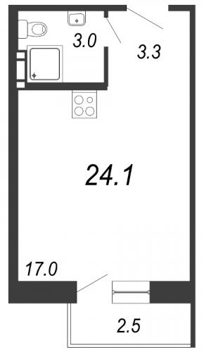 Студия на продажу (24,1 м<sup>2</sup>)