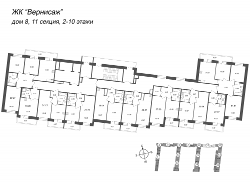 3-комнатная квартира на продажу (62,2 м<sup>2</sup>)