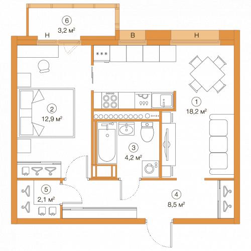 1-комнатная квартира на продажу (45,0 м<sup>2</sup>)