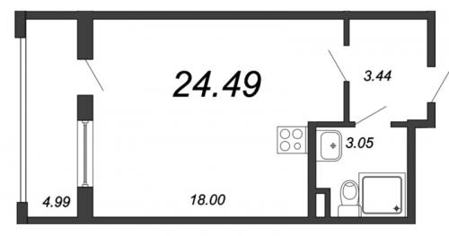 Студия на продажу (24,5 м<sup>2</sup>)