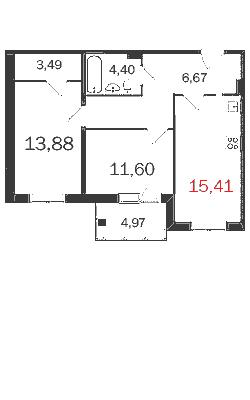 2-комнатная квартира на продажу (62,1 м<sup>2</sup>)
