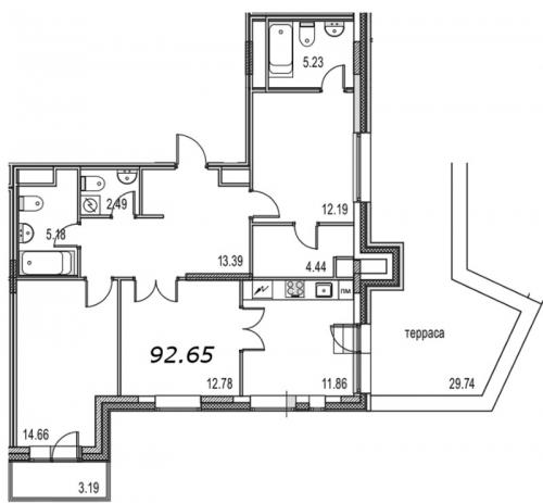 3-комнатная квартира на продажу (93,0 м<sup>2</sup>)