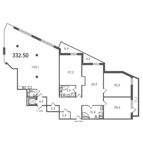 5-комнатная квартира на продажу (332,5 м<sup>2</sup>)