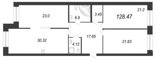 2-комнатная квартира на продажу (128,8 м<sup>2</sup>)