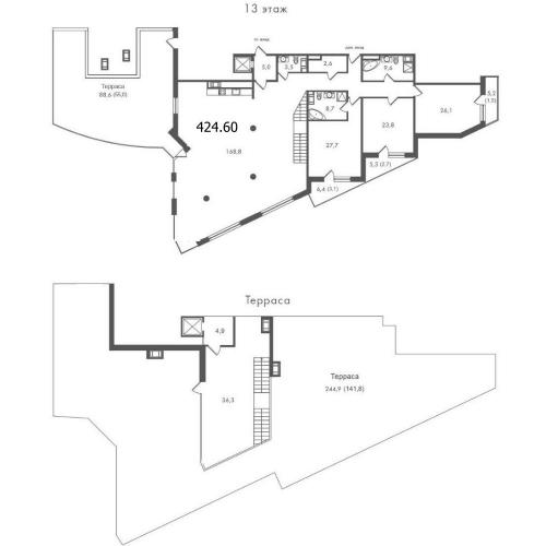 3-комнатная квартира на продажу (424,6 м<sup>2</sup>)