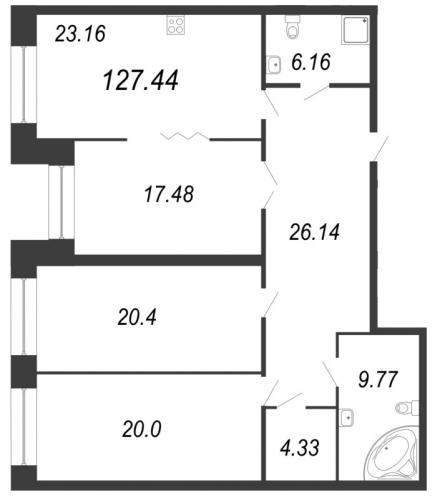 3-комнатная квартира на продажу (127,8 м<sup>2</sup>)