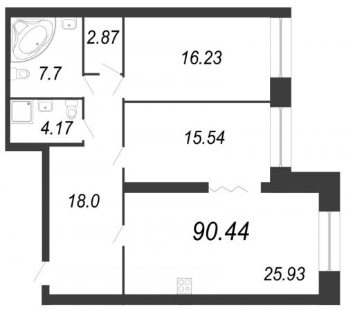 2-комнатная квартира на продажу (90,3 м<sup>2</sup>)
