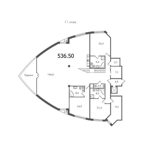 7-комнатная квартира на продажу (536,5 м<sup>2</sup>)