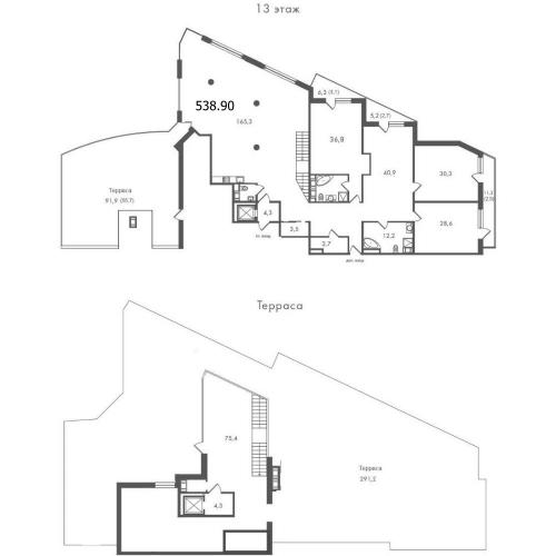 4-комнатная квартира на продажу (538,9 м<sup>2</sup>)