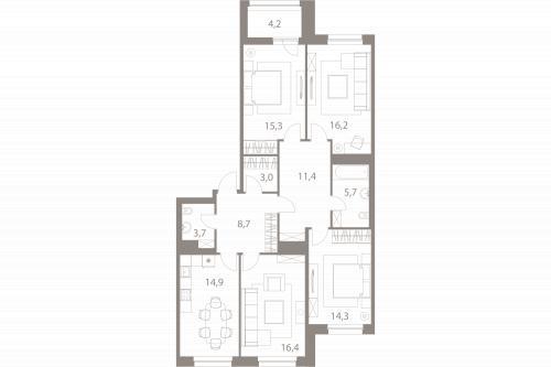 4-комнатная квартира на продажу (111,7 м<sup>2</sup>)