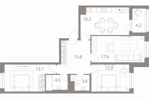 3-комнатная квартира на продажу (86,4 м<sup>2</sup>)