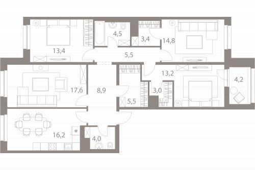 4-комнатная квартира на продажу (112,1 м<sup>2</sup>)