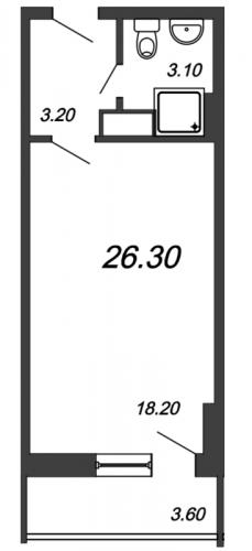 Студия на продажу (26,3 м<sup>2</sup>)