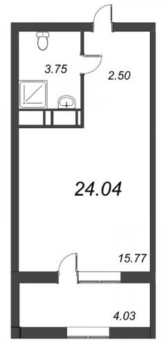 1-комнатная квартира на продажу (24,0 м<sup>2</sup>)