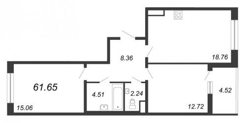 3-комнатная квартира на продажу (61,7 м<sup>2</sup>)