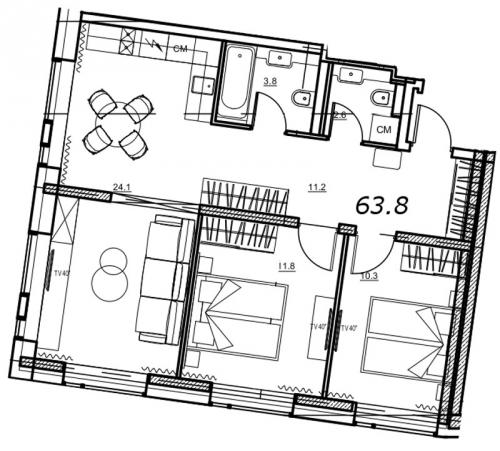 3-комнатная квартира на продажу (63,8 м<sup>2</sup>)