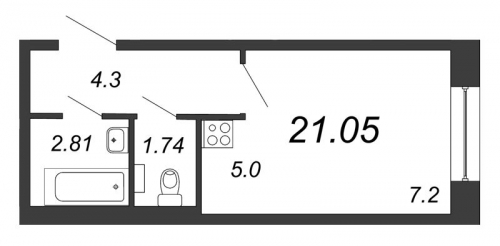 Студия на продажу (21,1 м<sup>2</sup>)
