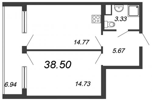 1-комнатная квартира на продажу (45,4 м<sup>2</sup>)