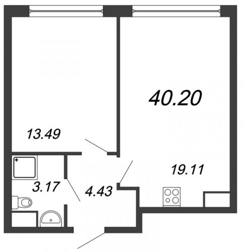 2-комнатная квартира на продажу (40,2 м<sup>2</sup>)