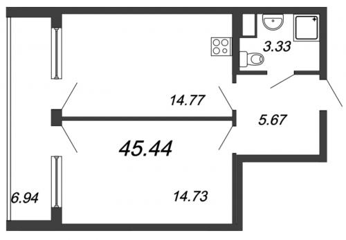 2-комнатная квартира на продажу (45,4 м<sup>2</sup>)