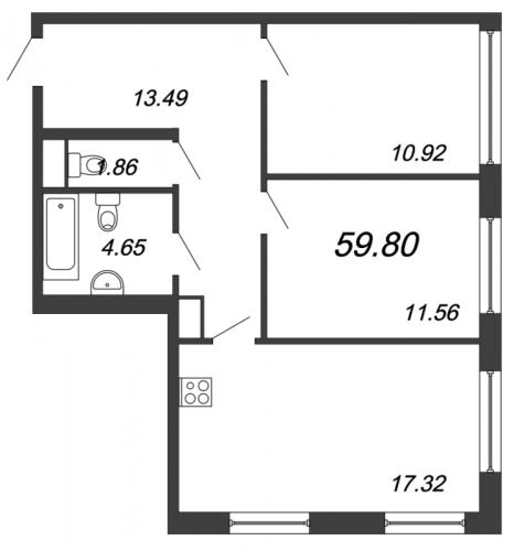 3-комнатная квартира на продажу (59,8 м<sup>2</sup>)