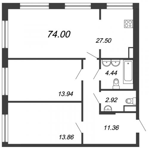3-комнатная квартира на продажу (74,0 м<sup>2</sup>)