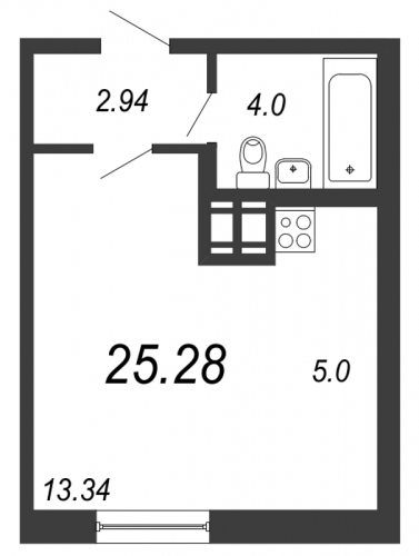Студия на продажу (25,3 м<sup>2</sup>)