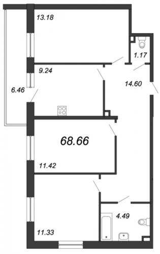 3-комнатная квартира на продажу (68,7 м<sup>2</sup>)
