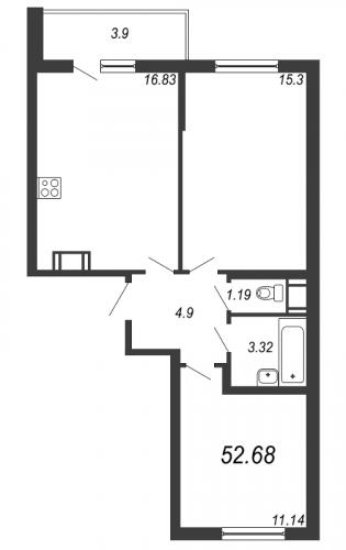 3-комнатная квартира на продажу (52,7 м<sup>2</sup>)