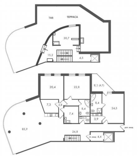 5-комнатная квартира на продажу (334,4 м<sup>2</sup>)