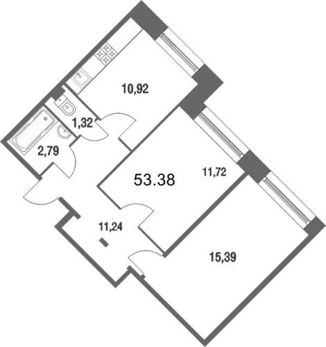 2-комнатная квартира на продажу (52,6 м<sup>2</sup>)
