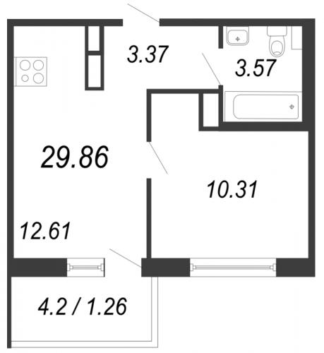 2-комнатная квартира на продажу (29,9 м<sup>2</sup>)