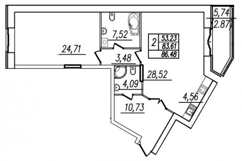 1-комнатная квартира на продажу (87,2 м<sup>2</sup>)