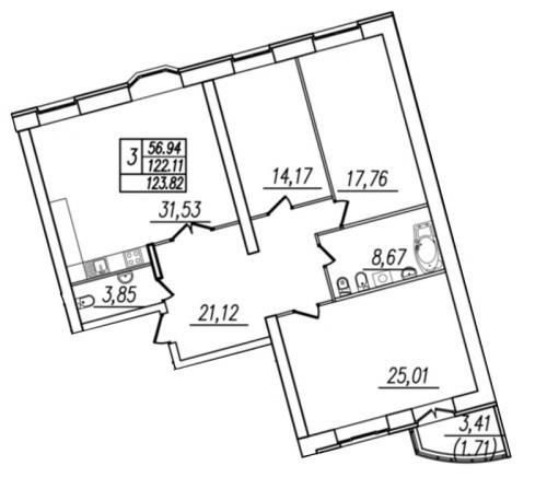 3-комнатная квартира на продажу (124,6 м<sup>2</sup>)