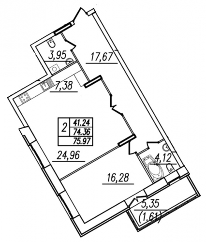 1-комнатная квартира на продажу (76,7 м<sup>2</sup>)