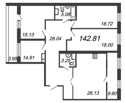 4-комнатная квартира на продажу (142,8 м<sup>2</sup>)