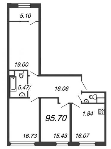 3-комнатная квартира на продажу (95,7 м<sup>2</sup>)