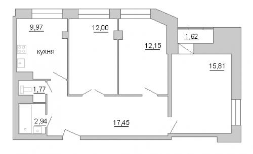 3-комнатная квартира на продажу (72,5 м<sup>2</sup>)