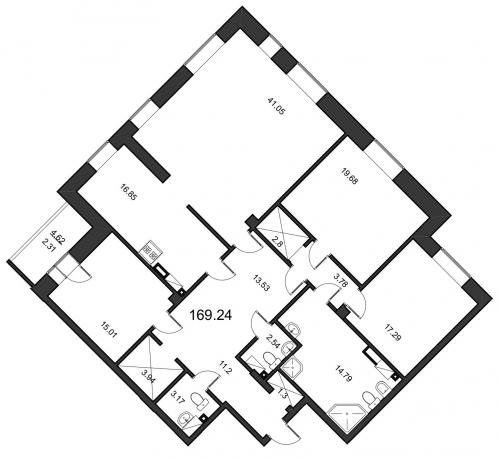 4-комнатная квартира на продажу (170,7 м<sup>2</sup>)