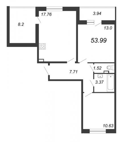 3-комнатная квартира на продажу (54,0 м<sup>2</sup>)