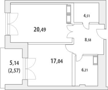 1-комнатная квартира на продажу (60,2 м<sup>2</sup>)