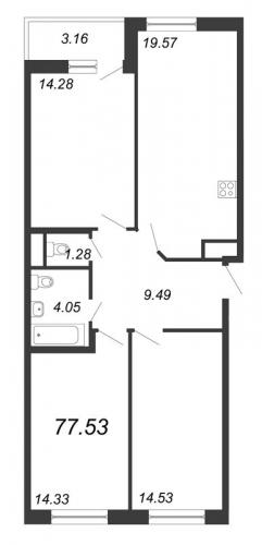 4-комнатная квартира на продажу (77,5 м<sup>2</sup>)