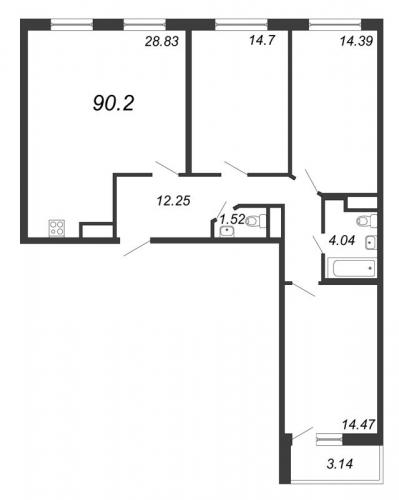 4-комнатная квартира на продажу (90,2 м<sup>2</sup>)
